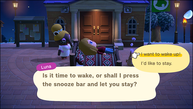 """Select """"I Want to Wake Up!"""" to leave an island."""