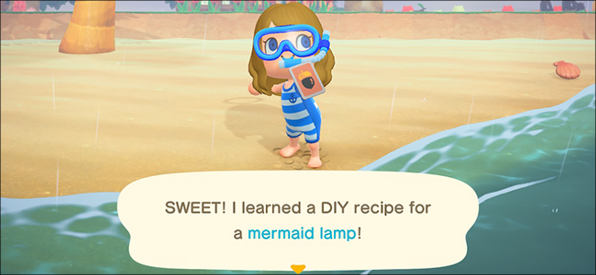 Character showing a new DIY recipe in Animal Crossing: New Horizons