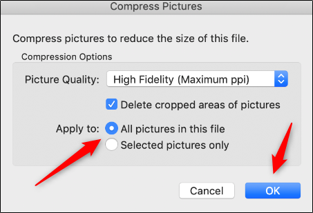 Apply compression to images in Mac
