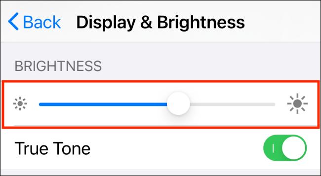 Brightness slider in Settings