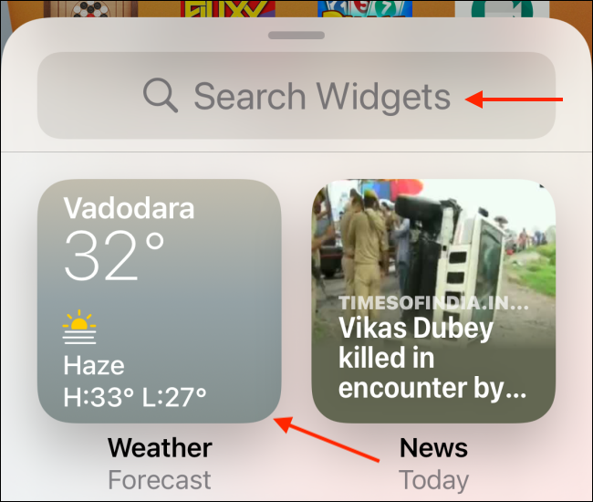 Choose a widget or search for an app