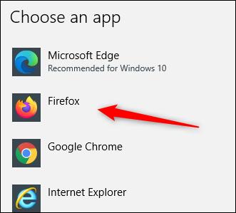 "Select ""Firefox."""