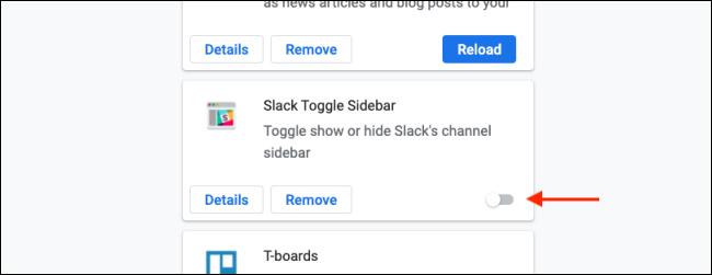 Haga clic en Alternar para deshabilitar una extensión de Chrome