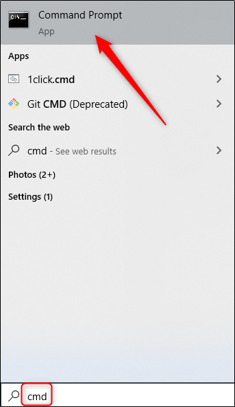 Command Prompt app in windows search bar