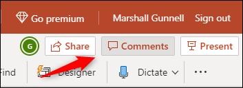 """Haga clic en """"Comentarios""""."""