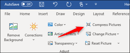 """Click """"Compress Pictures""""in Word."""