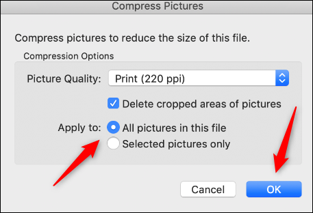 """Select whether you want to apply the compression to all images in the document, and then click """"OK."""""""