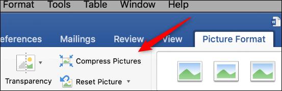 "Click ""Compress Pictures."""