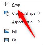 Crop option in dropdown menu