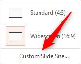 Custom slide size