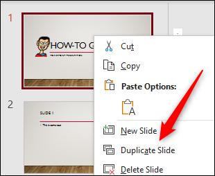 Duplicate slide option