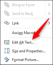 Edit alt text button on object in Excel