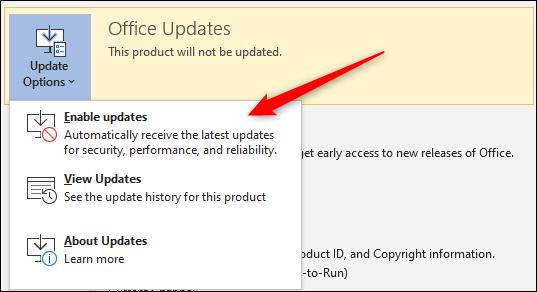 Enable updates option