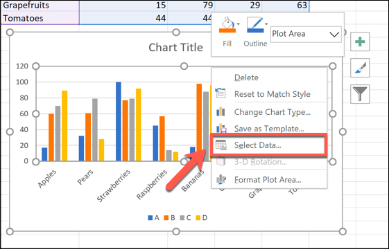 Right-click your chart, then click Select Data to begin renaming your data series.