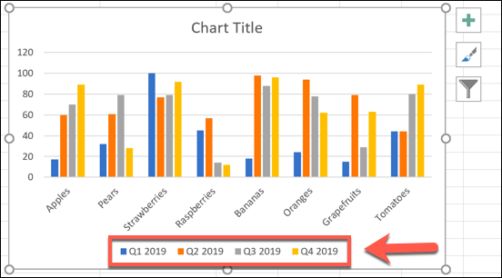 An Excel bar chart, showing manually updated data series labels.