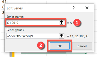 """Rename your data series in the """"Series name"""" box, then click """"OK"""" to confirm."""