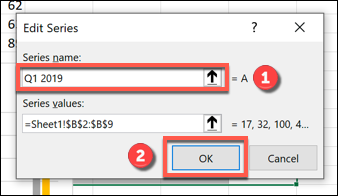 "Rename your data series in the ""Series name"" box, then click ""OK"" to confirm."