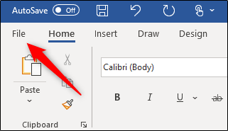 File tab in Microsoft Word