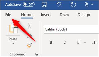 File tab in Microsoft Word