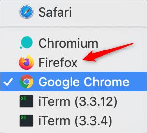 Firefox option in default browser list