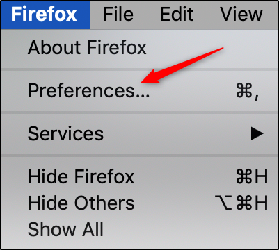 Firefox preferences
