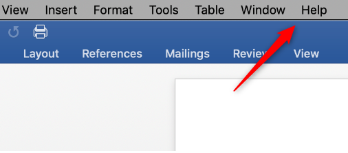 Help tab on Mac