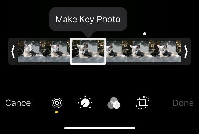 Crear nueva foto clave a partir de Live Photo en la aplicación Fotos de iOS