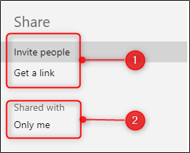 "The ""Share"" menu in PowerPoint."
