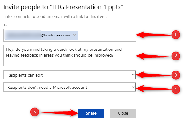 "The ""Invite People to"" menu in PowerPoint."