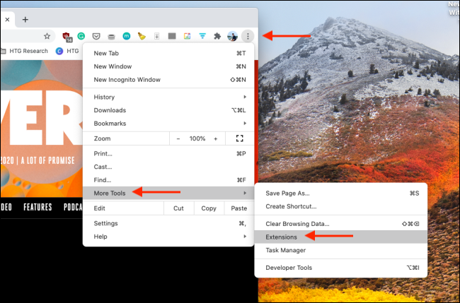 Open Extensions Manager in Chrome