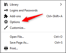 "Select ""Options"" in the Firefox menu."