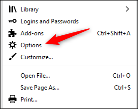 """Select """"Options"""" in the Firefox menu."""
