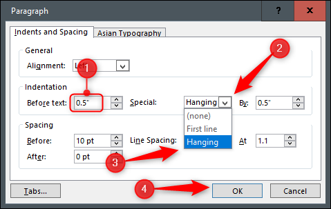 Paragraph indents and spacing settings