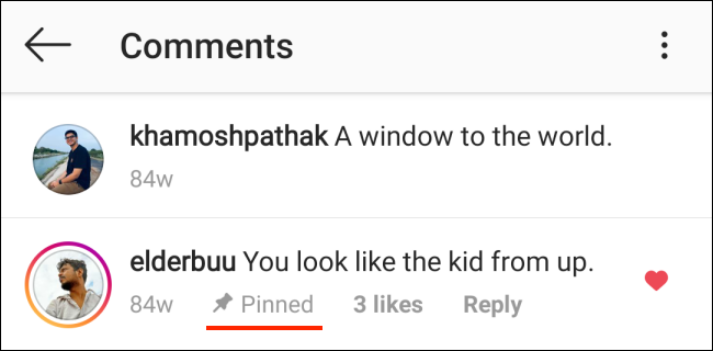 Pinned comment on Instagram for Android