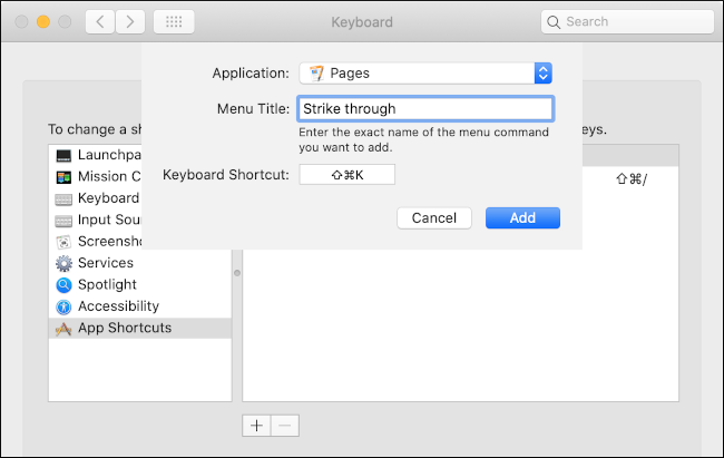 A custom keyboard shortcut is created for