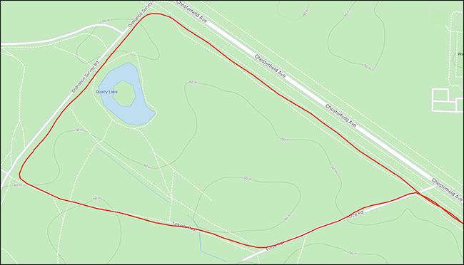 Un mapa GPS que muestra una ruta circular.