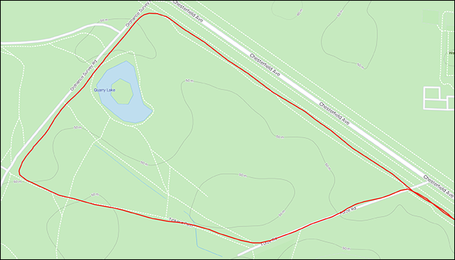 A GPS map showing a circular running route.