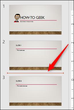 Selected area between slides