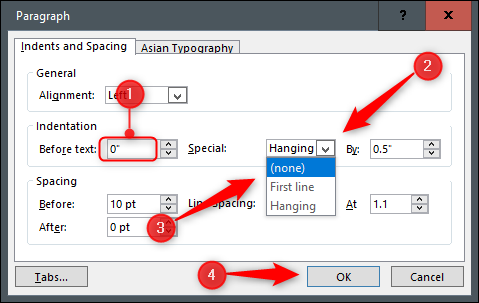 Settings to remove hanging indent