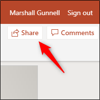 "Click ""Share"" in the presentation."