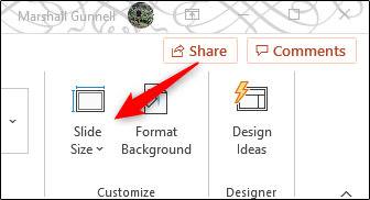 Slide size in customize group