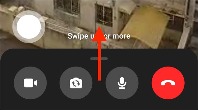 Desliza hacia arriba en Messenger Call en Android