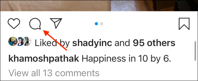 Press the Comment button on Instagram for iPhone