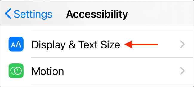 Tap Display and Text Size