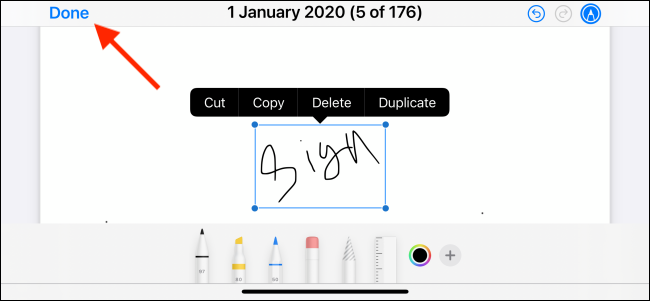 Tap Done to Save the Signature