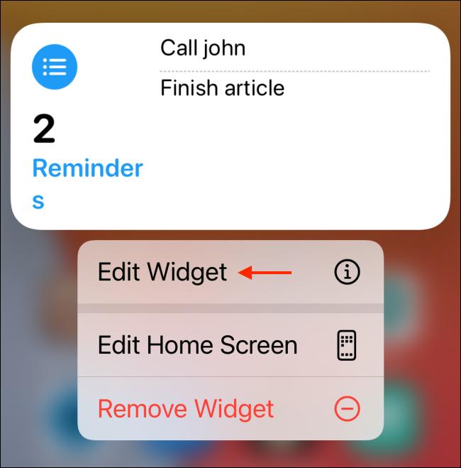 Tap Edit widget