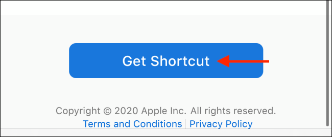 "Tap the ""Get Shortcut"" button."