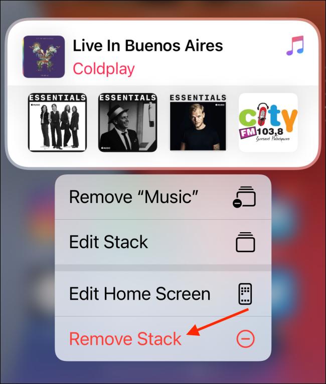 """Tap """"Remove Stack."""""""