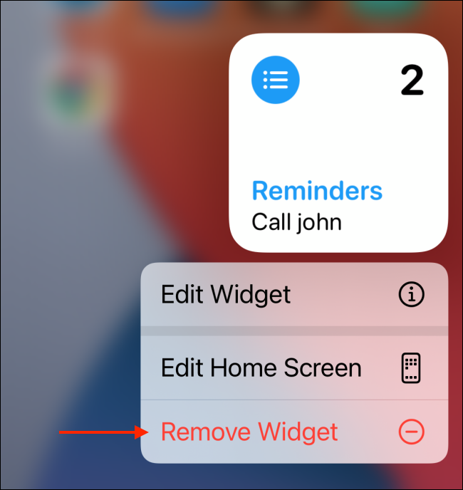 Toca Eliminar widget de las opciones del widget