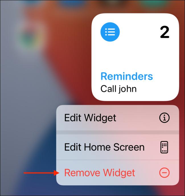 Tap Remove Widget from the widget options